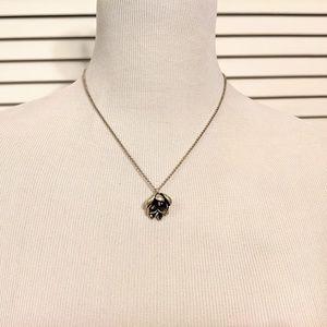 Fossil Silver Oxidized Peony Necklace